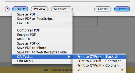 Screenshot showing how to invoke the GTPrint printing script